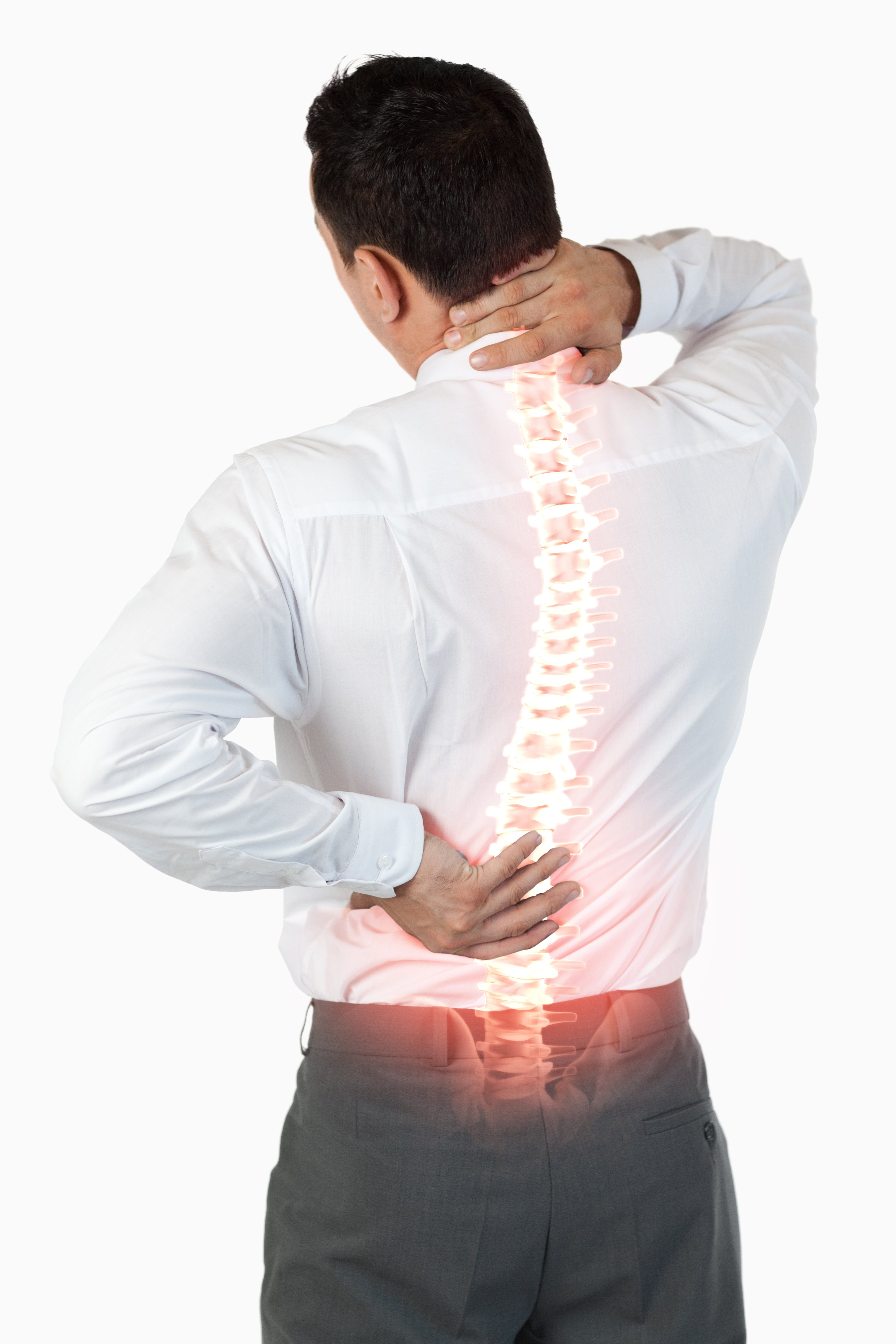 Digital composite of Highlighted spine of man with back pain-2