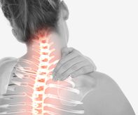 Digital composite of Highlighted spine of woman with neck pain-2