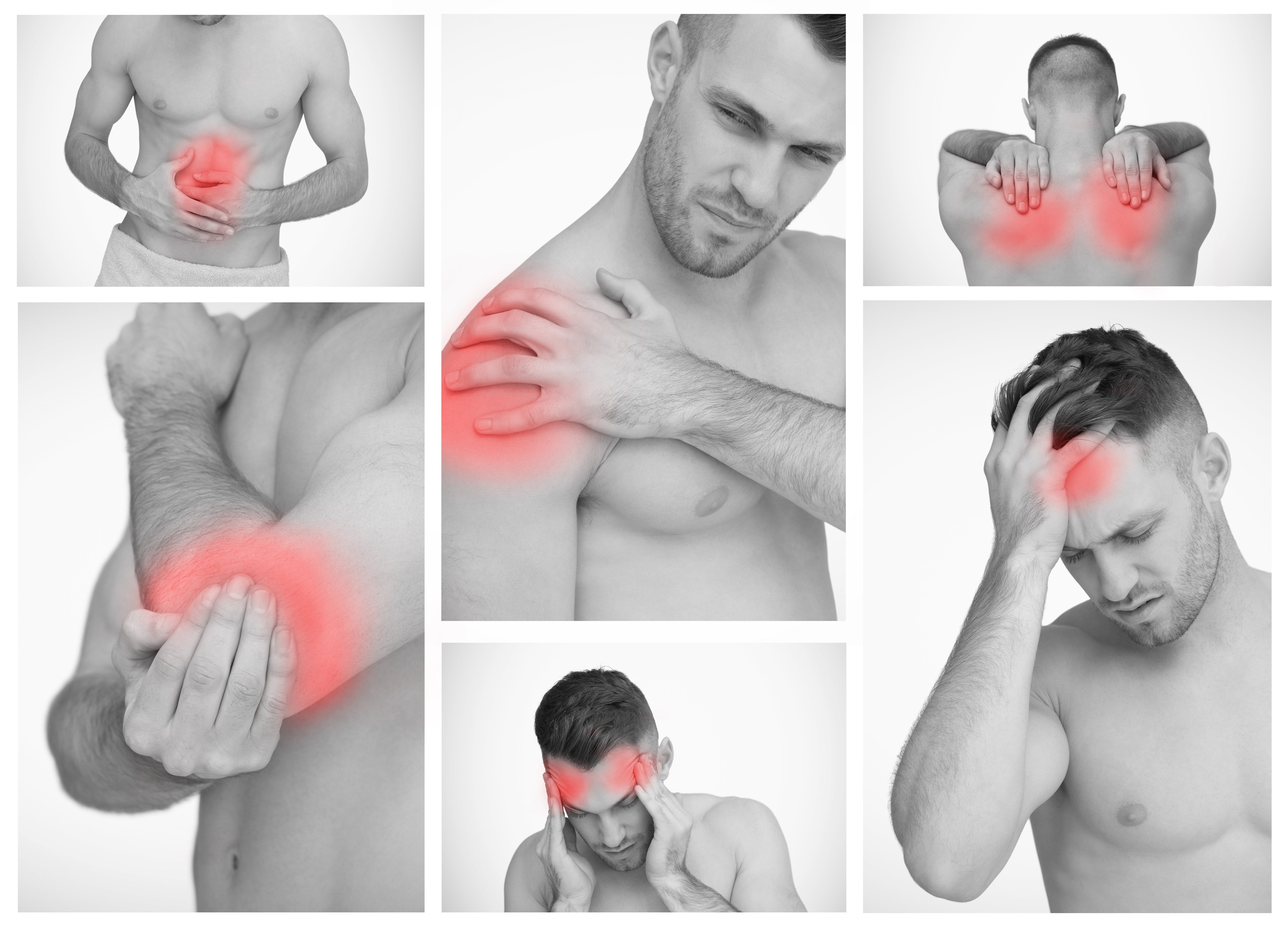 Pictures representing man having pain at several part of body-1